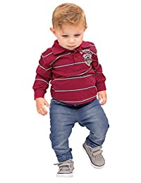 Pulla Bulla Baby Boy Long Sleeve Striped Polo Shirt