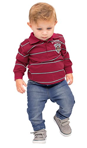 Pulla Bulla Baby Boy Long Sleeve Striped Polo Shirt 6-9 Months Cherry by Pulla Bulla