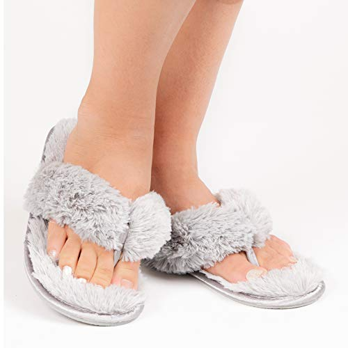 96011eaca26 Roxoni Fuzzy House Slippers for Women – Comfortable Furry Spa Thongs – Cozy  Slip On Flip