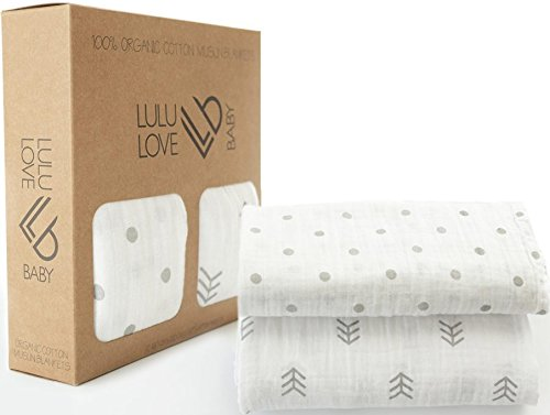 Lulu Love Baby Swaddle Blankets, 100% Organic Muslin, X-Large (47''X 47'') Multifunctional Receiving Blanket With Gender Neutral Design, Perfect For Boys or Girls & as a Baby Shower Gift, 2 Pack