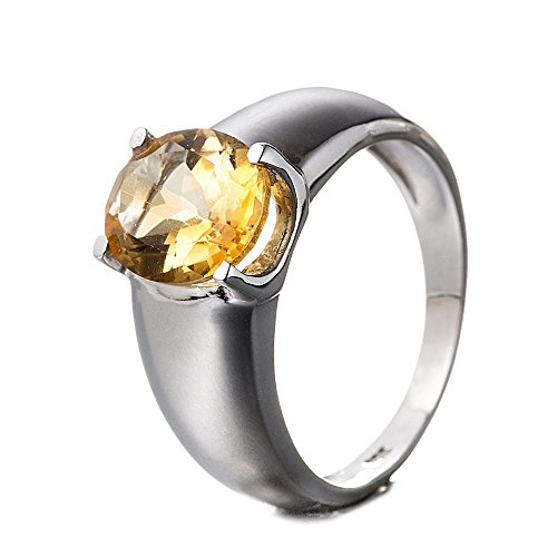 Sterling Silver Transparent Ring (Women's Ring 925 Sterling Silver Genuine Gemstone: Citrine)