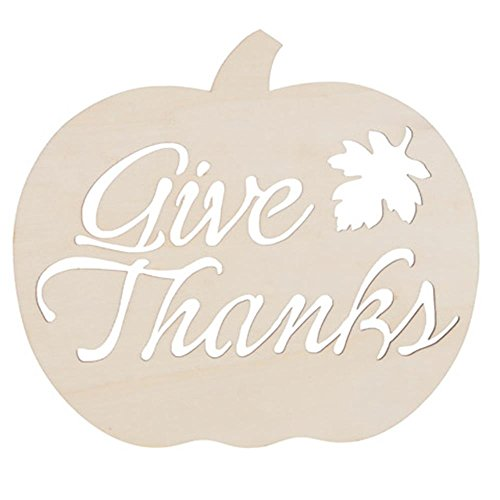 Darice 30005462 Fall Decor Pumpkin Give Thanks SignUnfinished
