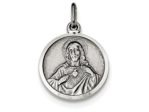 Finejewelers Sterling Silver Sacred Heart Of Jesus Medal Pendant Necklace Chain Included ()