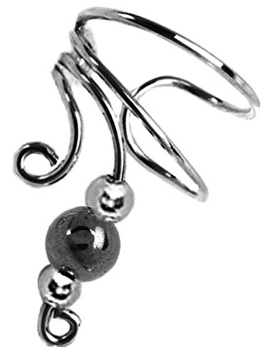 Ear Charms Short Left Wave Ear Cuff Hematite Sterling Silver Cartilage Wrap Ear Clip