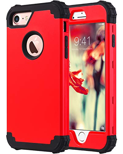 (ULAK iPhone 7 Case, iPhone 8 Case, [Shockproof Series] Heavy Duty Protection Shockproof Hybrid Soft Silicone & Hard PC Rugged Bumper Anti Slip Full-Body Protective Cover, Red)