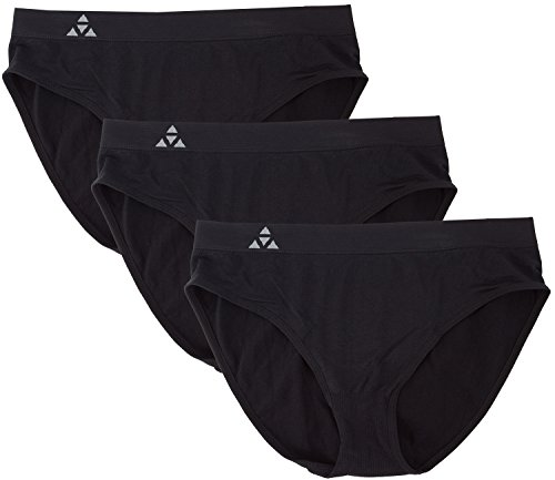 Balanced Tech Women's 3 Pack Classic Seamless Hipster Brief Bikini Panties - Solid Black - Small