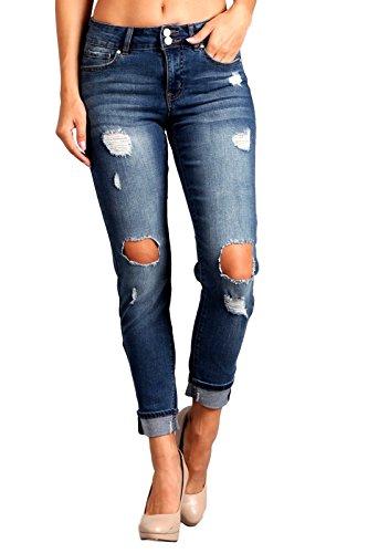 Wholesale Celebrity Pink Women's Distressed Boyfriend Jeans CJ21437TJ for cheap