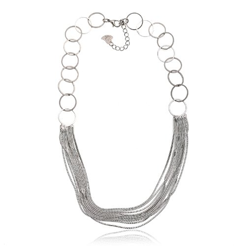 Fancy Link Chain with Round Circle Necklace (Hematite)