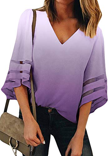 Women Summer Casual Tops Ombre 3/4 Bell Mesh Sleeve V Neck Relaxing Fit Blouses Shirts 20 Plus Size