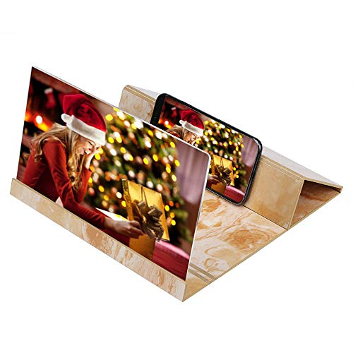 Screen Magnifier 3D HD Stereoscopic Phone Screen Enlarger Cellphone Movies Video Amplifier with Foldable Holder Stand 12 Inch Desktop Wood Bracket for All Smartphone