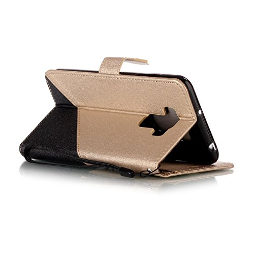 Erdong® funda Para Asus Zenfone 3 Max ZC553KL 5.5, Flip Book-style Superior Dual color PU de la carpeta de cuero de diseño [Azul] Con la función del soporte y ranuras titular de la tarjeta para Asus  Dorado