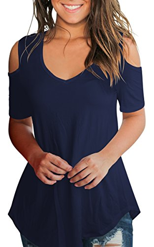 SLIMMING GRIL Women Fitted T Shirt Gowns Cold Shoulder V Neck Top Short Sleeve Blouse Navy Blue M