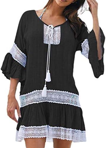ChengZhong Women\'s Beach Drawstring Stylish Bell Sleeve Tassel Mini Dress Black M