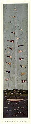 Buyartforless Nautical II by Warren Kimble 7x28 Art Print Poster Sailboat Flags Ocean Folk Country Primitive