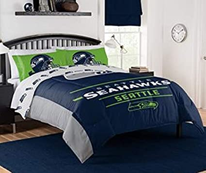 Seattle Seahawks Complete NFL Pro Sports Bedding Set Bed in a Bag Comforter Full