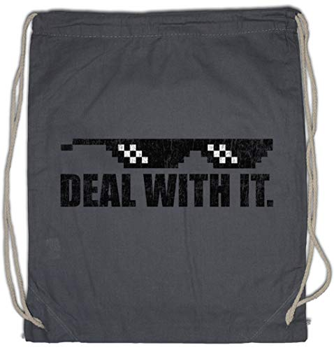 Deal With It Drawstring Bag Gym Sack (Sonnenbrille Hipster)