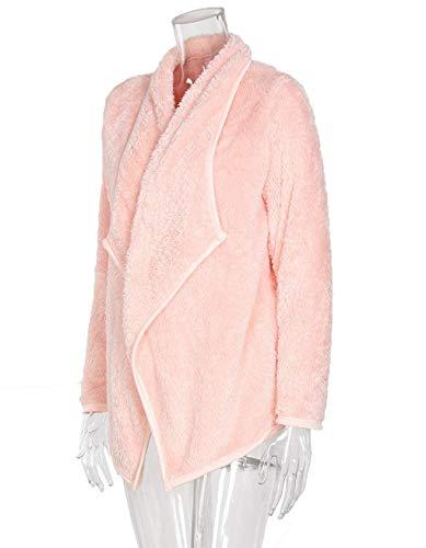 Lana Larga Outerwear Mujer Pink Irregular Hipster Color Cardigan Caliente Sólido Manga Chaqueta Invierno Elegante Abrigo Moda Ropa Otoño wCavIU4q
