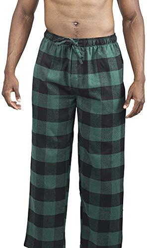 Green Flannel Pajama Pants - NORTY - Mens Cotton Buffalo Plaid Flannel Sleep Pajama Pant, Green, Black 39976-XX-Large