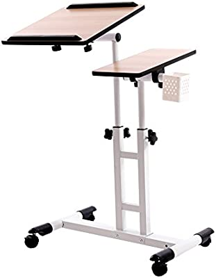 redscorpion altura regulable ruedas para ordenador portátil mesa de escritorio, ordenador escritorio, más de sofá cama soporte de mesa para leer, escribir, ...