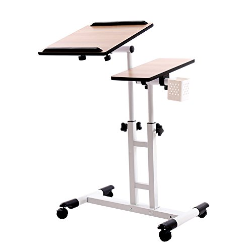 Adjustable Height Stand Cart Laptop Desk Table Computer Desk Over Sofa Bed Table for Writing/Reading/Working and More from Redscorpion ()
