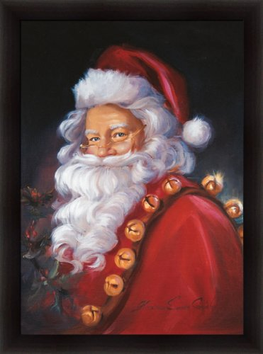 St. Nick by Susan Comish Santa Claus with Jingle Bells 22.5x30.5 Framed Art Print Picture (Claus Jingle Santa Bell)