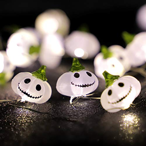 Diy Halloween Mantel Decor (XIWU Pumpkin String Lights 3D Jack-o-Lantern 10ft 30LEDs Halloween Lights Battery Operated with Remote & Timer for DIY Home Party Indoor Garden Wedding Christmas Thanksgiving Halloween)