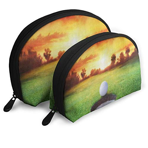 Makeup Bag Sport Golf Ball Sunset Portable Shell Clutch Pouch For Girls Halloween Gift Pack - 2 ()