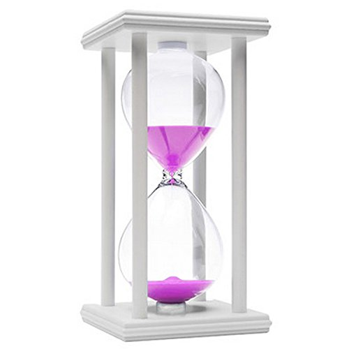 60 Minutes Hourglass, iPhyhe One Hour Sand Timer with White Wooden Frame (Pink Sand) (Sand Timer 1 Hour)
