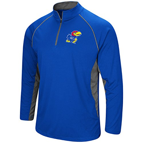 Colosseum Men's NCAA-Rival-1/4 Zip Pullover-Kansas - Kansas Zip