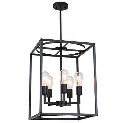 5 Light Foyer Fixture - BONLICHT 5 Light Large Farmhouse Chandelier Rustic Dining Room Lighting Fixtures Hanging,Black Foyer Square Cage Pendant Lighting Vintage Industrial Kitchen Island Ceiling Lamp with Metal Art Shade