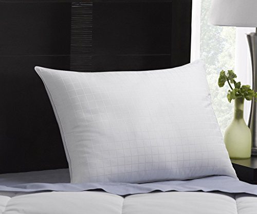 Exquisite Hotel Plush Down-Alternative Gel-Fiber Filled Hypoallergenic Pillow with a 100% Cotton Shell, Windowpane Pattern, and SOFT Density, Queen Size - Hotel Collection Windows