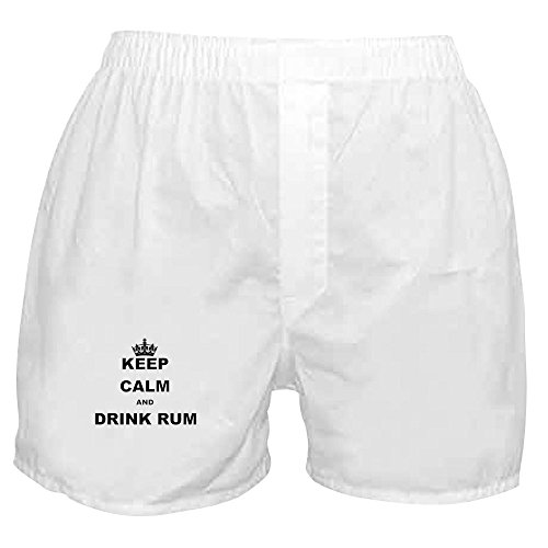 (CafePress - Keep Calm and Drink Rum - Novelty Boxer Shorts, Funny Underwear White)