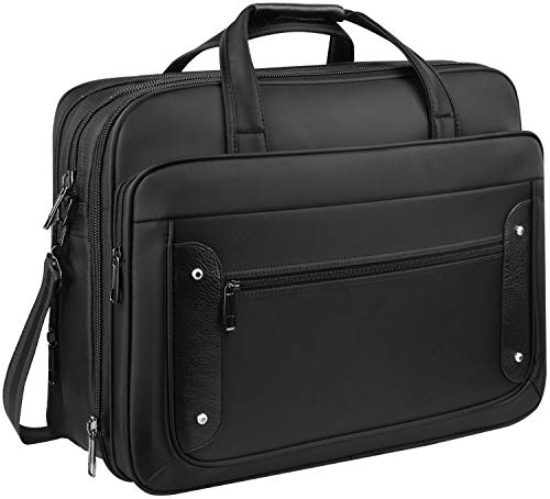 Large Briefcases for Men, 18 inch Laptop Bag, Expandable Extra Large Briefcase Bag, Gaming Computer Bags for Laptops 18 17.3 Inch Tablet, Zokaliy Water Resistant Travel Bag for Business/School, Black
