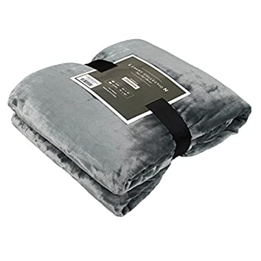 Luxury Collection Ultra Soft Plush Fleece Lightweight All-Season Throw/Bed Blanket, Queen, Azure Gray