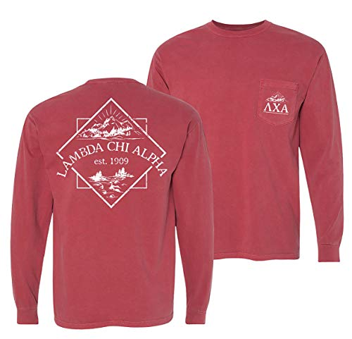 Lambda Chi Alpha Crimson Comfort Colors Long Sleeve Pocket Tee