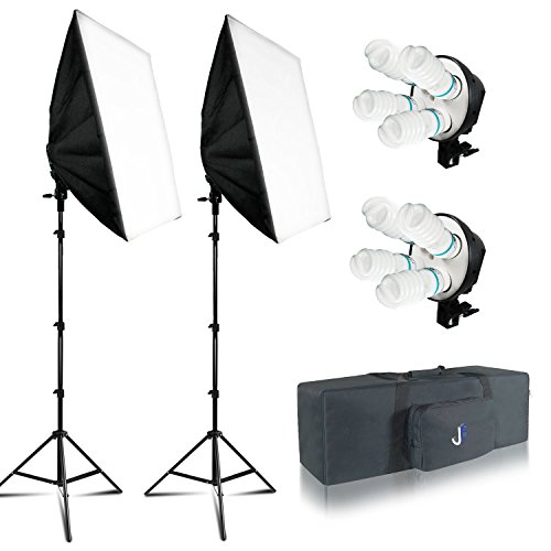 Julius Studio 20″X28″ Soft Box Photography Continuous 800W Lighting Kit Photo Studio Equipment with 4 Socket Light Bulb Adaptor, 8pcs E27 Video Lighting Bulb, Portraits Shooting Box JSAG314V2