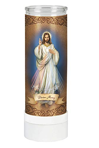 Devotional Candles Divine Mercy Flameless Battery-Operated Electric Candle, 8 Inch