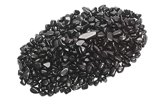 ZenQ 1 lb Black Obsidian Tumbled Stone Chips Crushed Natural Crystal Quartz Pieces