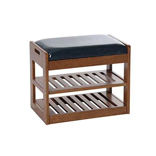 ZTMN Furnit Shoe Bench Solid Wood Shoe Rack Simple Modern Shoe Bench Leather Cushion Hall Hall Double Shoe Rack (Color : E)