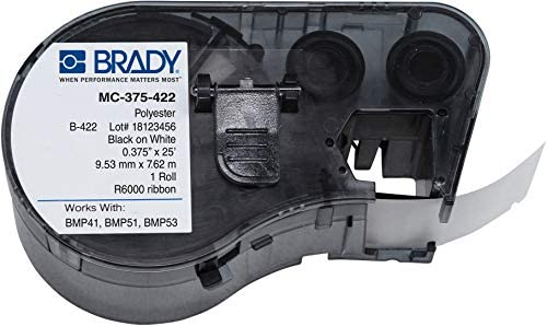 Amazon Com Brady Mc 375 422 Polyester B 422 Black On White Label Maker Cartridge 25 Width X 3 8 Height For Bmp51 Bmp53 Printers Industrial Scientific
