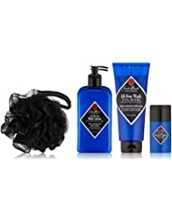 JACK BLACK – Clean & Cool Body Basics Set – All-Over Wash for Face, Hair & Body, Pit Boss Antiperspirant & Deodorant, Cool Moisture Body Lotion, Deluxe Black Netted Sponge, Wax Canvas Carry Bag