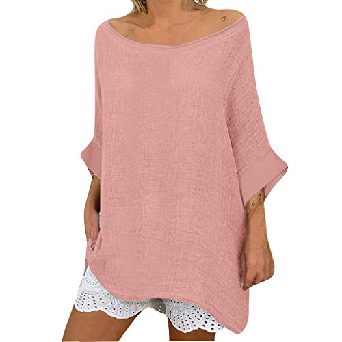 - Tunic Tops for Women,Casual Linen Round Neck Soild T-Shirt Blouse Changeshopping Pink