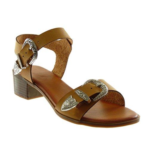 Angkorly Damen Schuhe Sandalen - Knöchelriemen - Schleife - Metallisch - String Tanga Blockabsatz High Heel 4 cm Camel