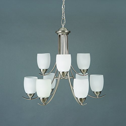 Yosemite Home Décor 1261-9U-BN Mirror Lake Collection Nine Light Chandelier, Brushed Nickel -