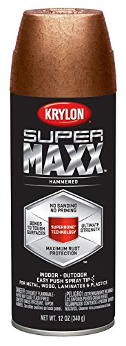 Krylon K08987000 SUPERMAXX All-In-One Spray Paint, Copper Hammered, 12 Ounce