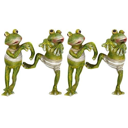 Ozzptuu 4 pcs/Set Resin Frog Pot Huggers, Decorative Frog Figurines Potting Ornaments for Office & Garden & Desk Decoration