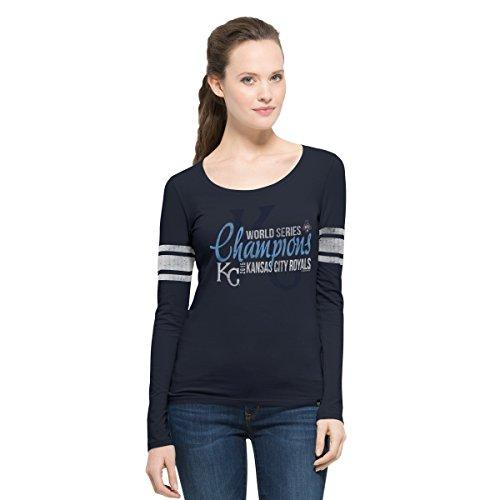 MLB Kansas City Royals Women's 2015 World Series Champions '47 Homerun Long Sleeve Tee, Fall Navy, Large,Fall Navy