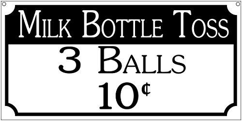 Milk Bottle Toss Game (Milk Bottle toss 3 balls- 12x18 Aluminum Fair Carnival game room sign)
