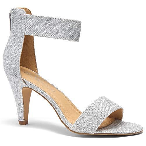 Herstyle RROSE Women's Open Toe High Heels Dress Wedding Party Elegant Heeled Sandals Silver 9.0