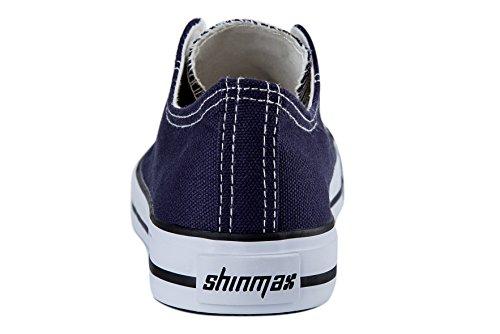 Low Schuhe Sneaker Leinwand cut amp; Hitops Schuhe Shinmax Sneaker Dunkelblau Freizeitschuhe Turnschuhe Cut Textil Low Turnschuhe Schuhe Schnürschuhe Canvas Casual F1dw4